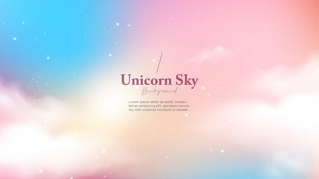 Fundo com luz de céu unicórnio abstrata com estrelas e nuvens