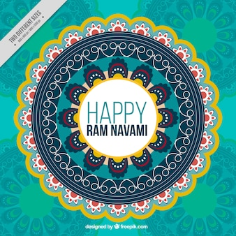 Fundo com mandala decorativa para ram navami celebração