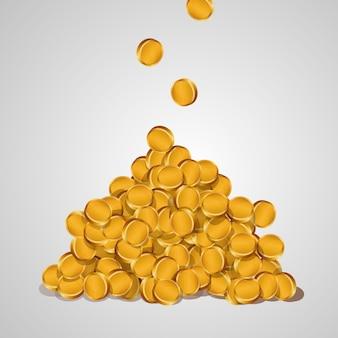 Fundo com moedas de ouro caindo isoladas em um fundo branco. uma montanha de moedas de ouro.