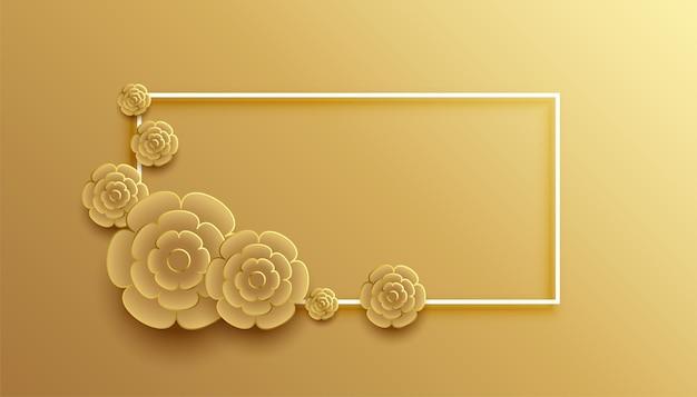 Fundo com moldura de flor dourada estilo 3d