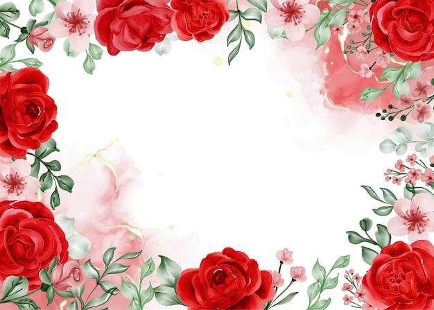 Fundo com moldura de flor vermelha rosa liberdade e espaço em branco