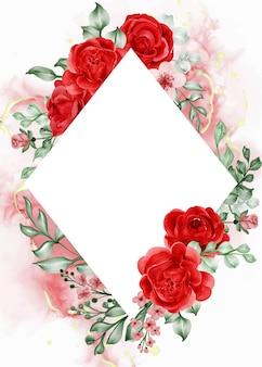 Fundo com moldura de flor vermelha rosa liberdade e espaço em branco.