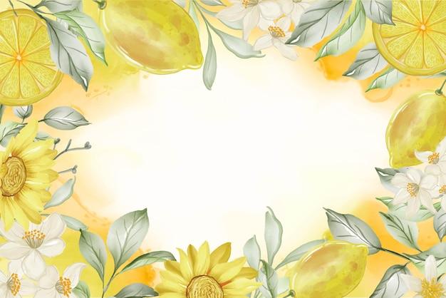 Fundo com moldura em aquarela de flor de limão