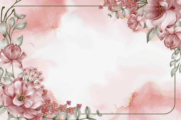 Fundo com moldura em aquarela de flor rosa bordô