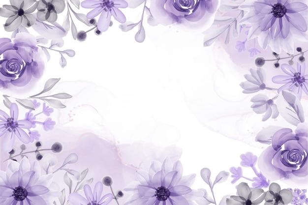 Fundo com moldura floral aquarela com flor roxa suave