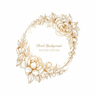 Fundo com moldura floral dourada circular lindo