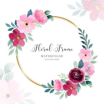 Fundo com moldura floral rosa aquarela