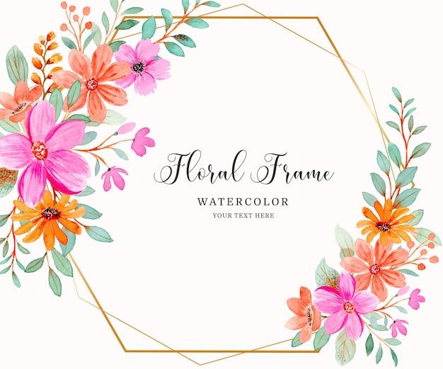 Fundo com moldura floral rosa laranja aquarela