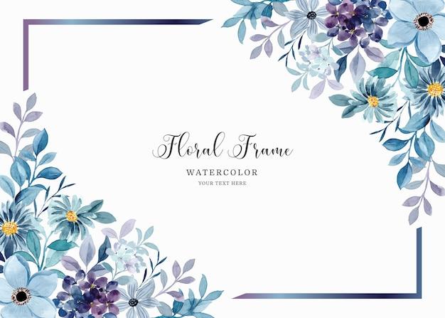 Fundo com moldura floral roxa e azul aquarela