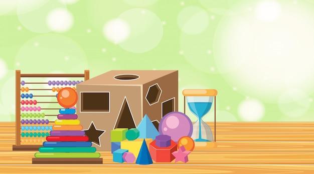 Fundo com muitos brinquedos no chão de madeira