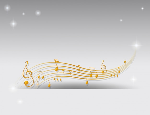 Fundo com notas musicais douradas