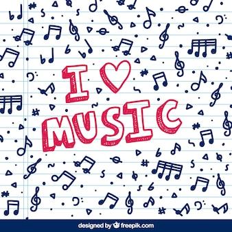 Fundo com notas musicais e texto