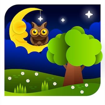 Fundo com o céu da noite. lua e estrelas