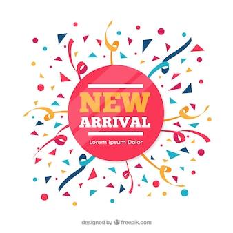 Fundo com o novo conceito de chegada em estilo confetti
