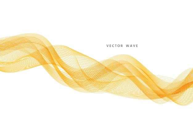 Fundo com ondas. banner abstrato ondulado. pano de fundo geométrico com redemoinho curvo. linhas amarelas fluidas