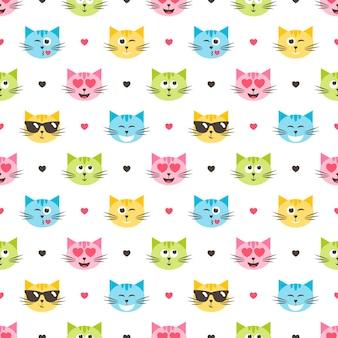 Fundo com padrão colorido de cabeças de gato