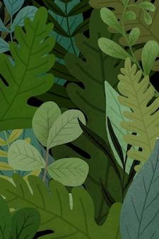 Fundo com padrão de folhas verdes Vetor grátis