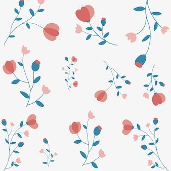 Fundo com padrão floral rosa vetor estilo feminino estilo bonito desenhado à mão