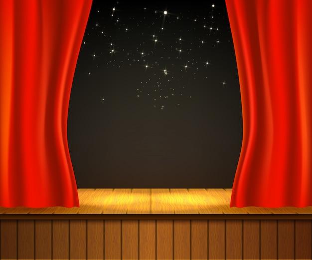 Fundo com palco de teatro.