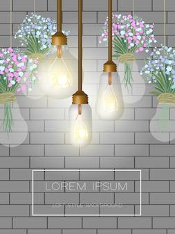 Fundo com parede de tijolos e lâmpadas de loft.