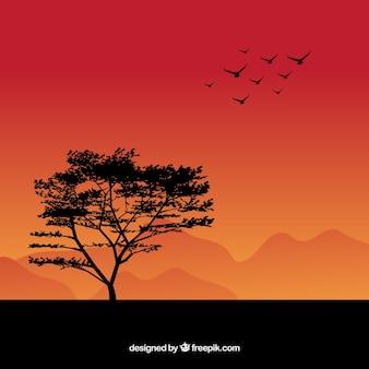 Fundo com pássaros e silhueta de árvore