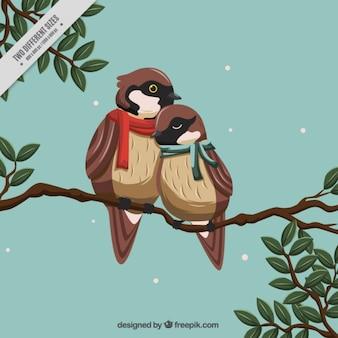 Fundo com pássaros românticos usando lenços