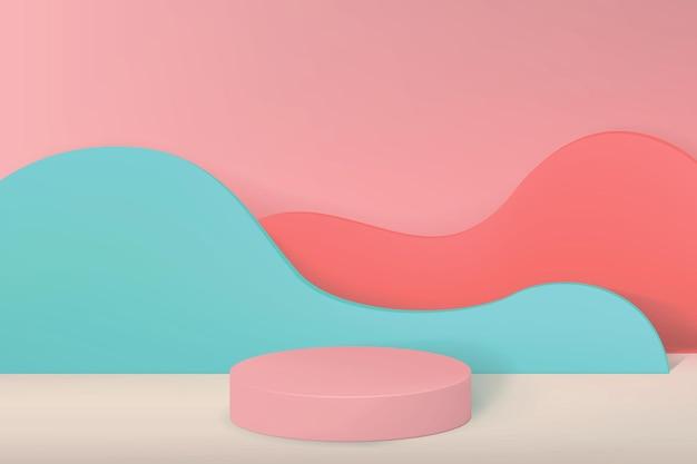 Fundo com pedestal vazio para demonstração do produto em estilo minimalista com paredes em forma de ondas em tons pastel.