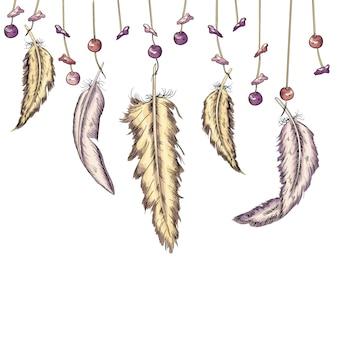 Fundo com penas e seixos no estilo boho. trabalho artesanal. ilustração