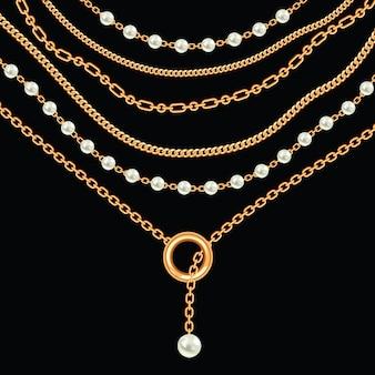 Fundo com pérolas e correntes colar metálico dourado. no preto. ilustração vetorial