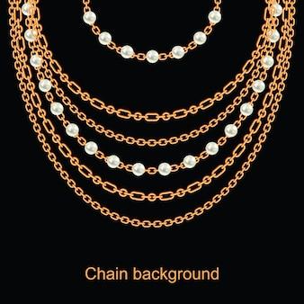 Fundo com pérolas e correntes colar metálico dourado