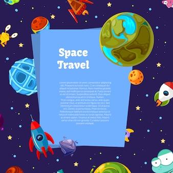 Fundo com planetas do espaço dos desenhos animados e navios