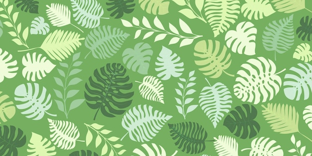 Fundo com plantas exóticas da selva. folhas de palmeira tropical. ilustração da floresta tropical em cores verdes.