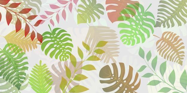 Fundo com plantas exóticas da selva. folhas de palmeira tropical. ilustração da floresta tropical, multicolorida em branco.