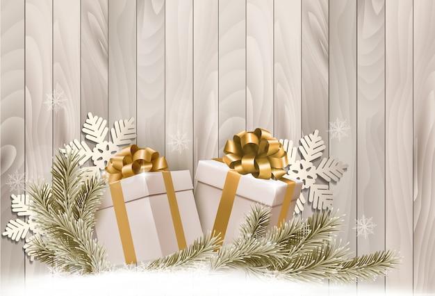 Fundo com presentes e flocos de neve