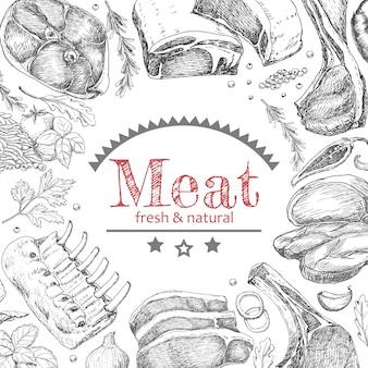 Fundo com produtos de carne