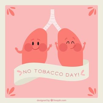 Fundo com pulmões sorridentes celebrando nenhum dia do tabaco