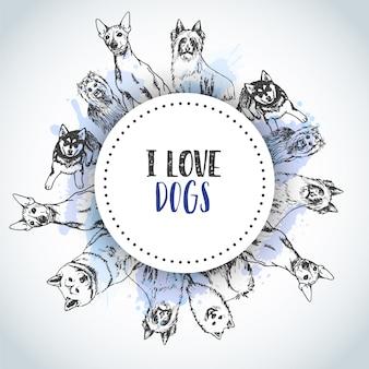 Fundo com raças de cães de mão desenhada.