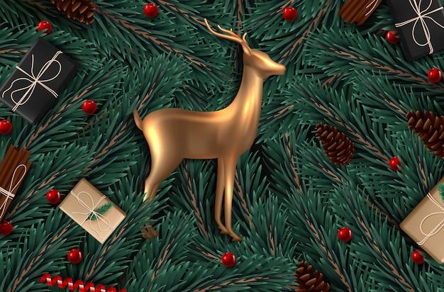 Fundo com ramos de árvore de vista realísticos do natal e cervo do vidro do ouro.