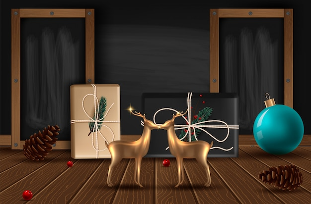 Fundo com ramos de árvore de vista realísticos do natal e rose gold glass deer.