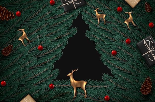 Fundo com ramos de árvore de vista realísticos do natal e rose gold glass deer.