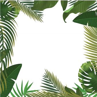 Fundo com ramos de folha de palmeira verde realista sobre fundo branco. vista leiga, superior