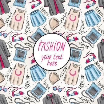 Fundo com roupas e acessórios femininos e lugar para texto