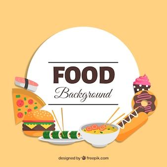 Fundo com saborosa comida rápida