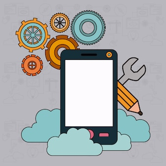 Fundo com serviço de nuvem de smartphone e armazenamento