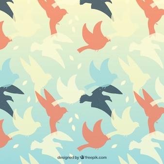 Fundo com silhuetas de pássaros