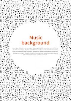 Fundo com sinais de música e modelo de texto