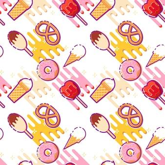 Fundo com sorvetes e petiscos