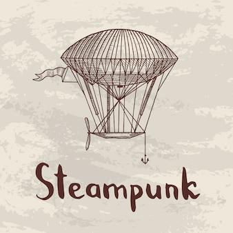 Fundo com steampunk mão desenhada dirigíveis, balões de ar, bicicletas e carros com lugar para ilustração de texto