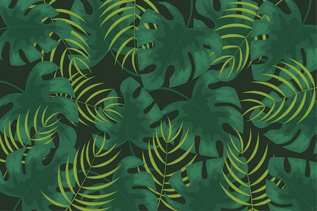 Fundo com tema de folhas tropicais
