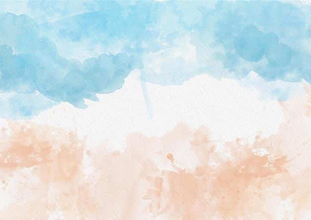 Fundo com tema de praia pintado à mão em aquarela